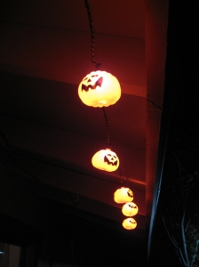 We hung our pumpkin lights!